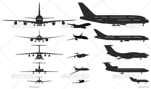 Airplanes Silhouettes Set. - Man-made Objects Objects