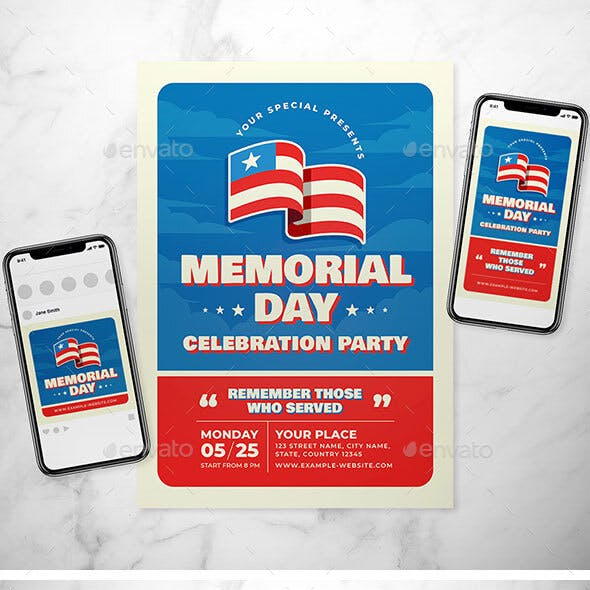 US Memorial Day Flyer Set