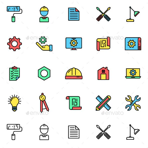 40 Engineering Icon Pack Vector