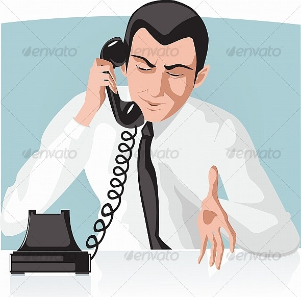Businessman talking by telephone - People Characters