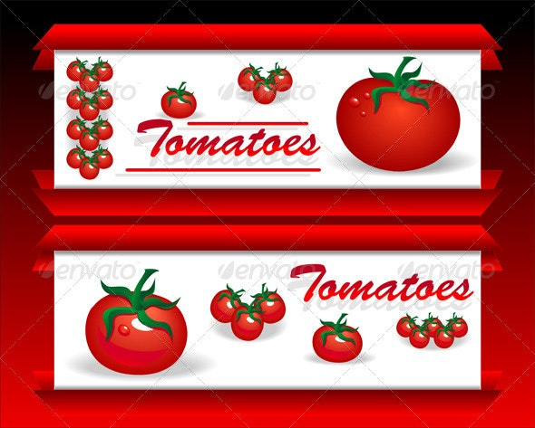 Banners for advertising tomatoes and food  - Food Objects