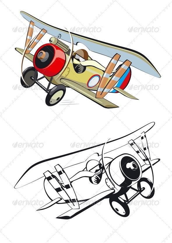 Cartoon Biplane - Man-made Objects Objects