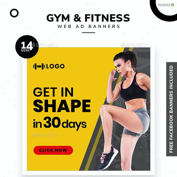 Gym and Fitness Web Banner Set