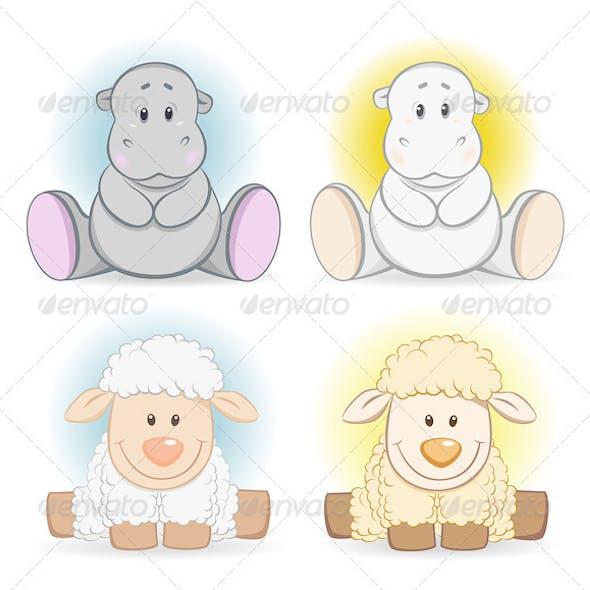 Cartoon Hippo And Sheep Baby Toy