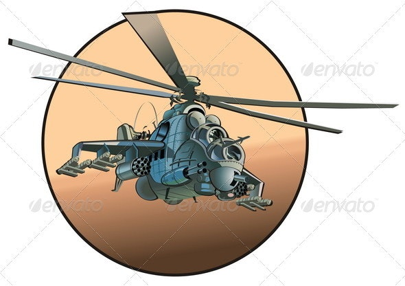 Cartoon Military Helicopter - Man-made Objects Objects