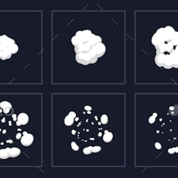 Smoke Explosion Animation. Cartoon Explosion