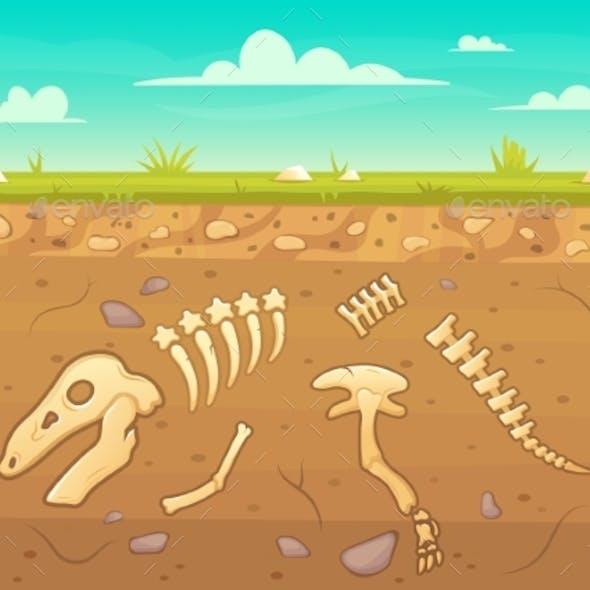 Cartoon Reptile Bones Ground. Archeology Buried