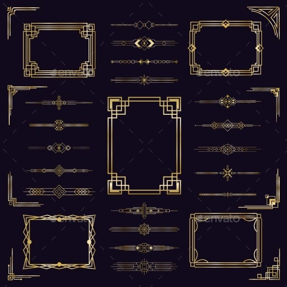 Art Deco Border Frames. Vintage Arabic Golden