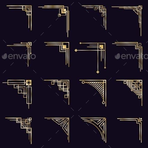 Art Deco Corners. Vintage Gold Arabic Geometric