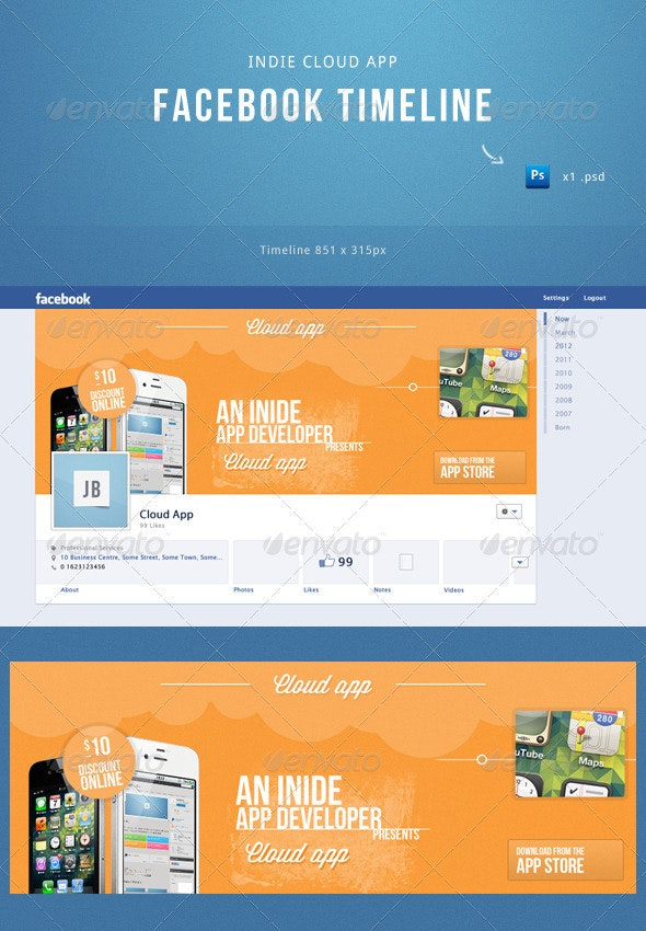 Indie Cloud App Facebook Timeline Template - Facebook Timeline Covers Social Media