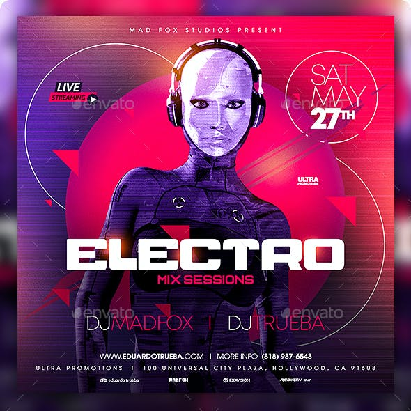 Electro Mix Sessions Party Flyer