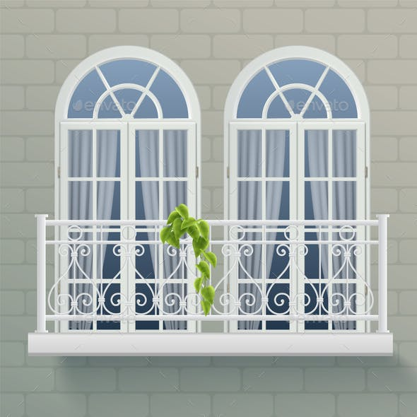 Balcony Fence Realistic Poster