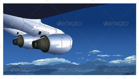 View from Airliner - Travel Conceptual