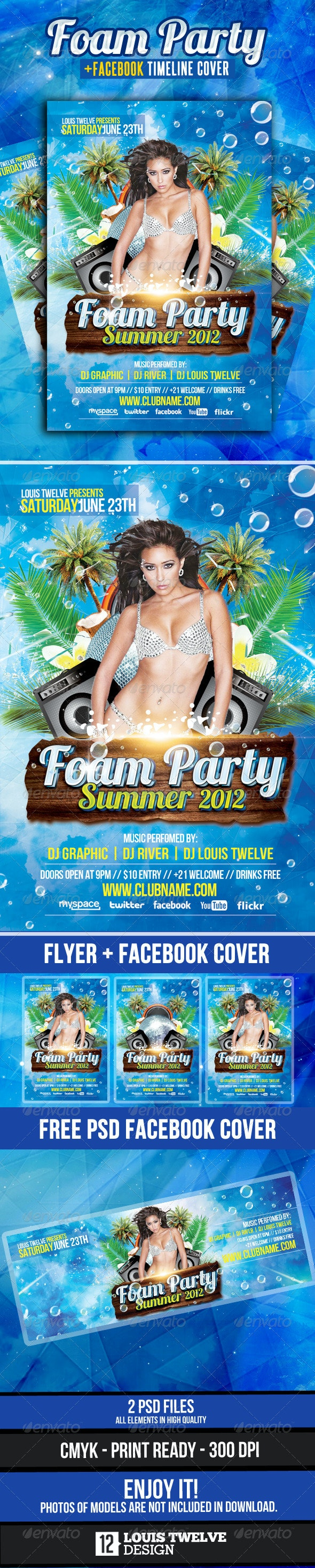 Foam Party Summer Flyer + Facebook Cover - Clubs & Parties Events