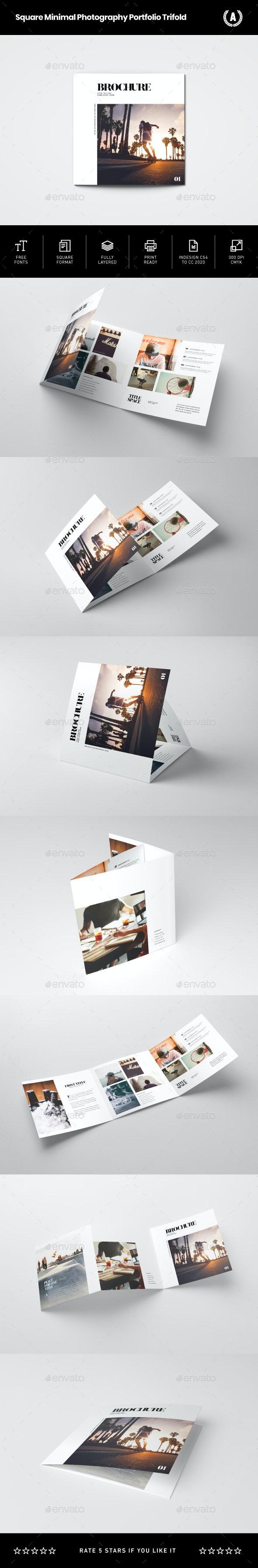 Square Minimal Photography Portfolio Trifold - Brochures Print Templates