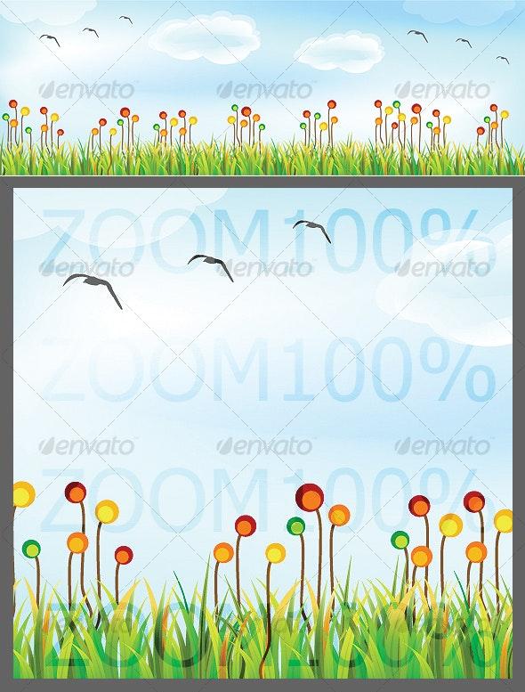 flowered grass landscape - Miscellaneous Vectors