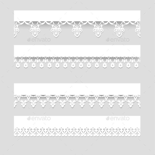 Set of Lace Borders with Shadows