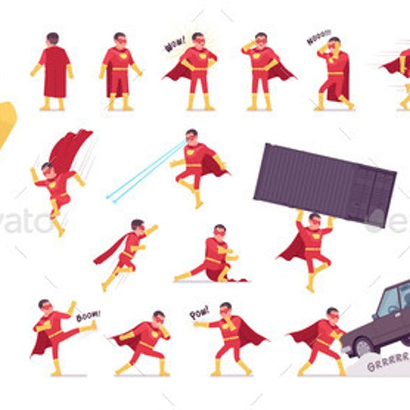 Male Super Hero in Classic Red Costume Character