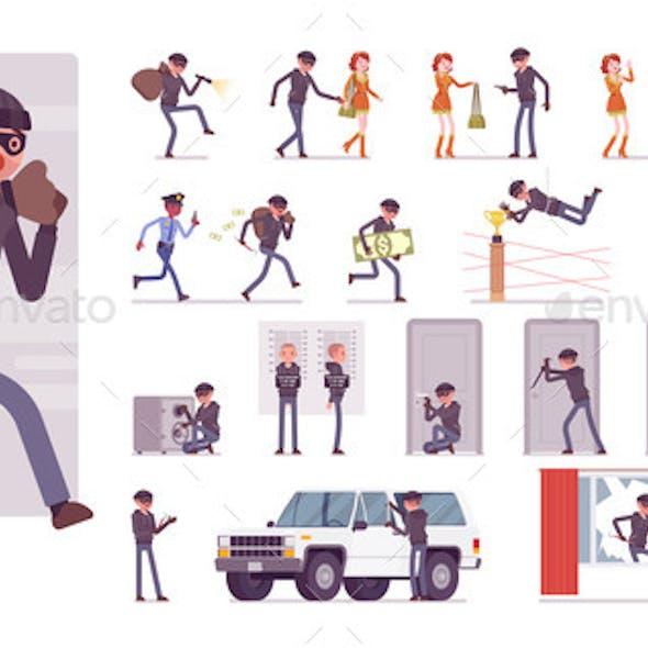 Thief Masked Man Stealing Money Character Set