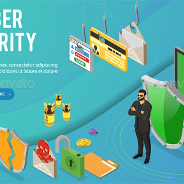 Cyber Security Isometric Banner