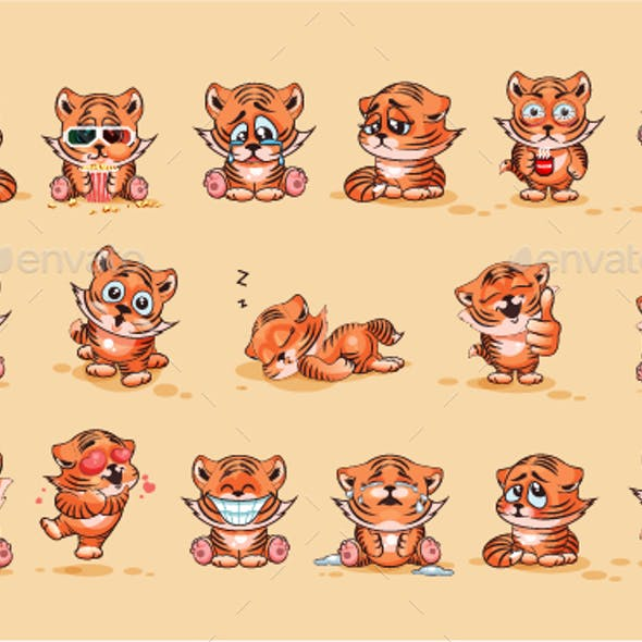 Set Kit Collection of Emoji Character Cartoon Tiger Cub Sticker Emoticons