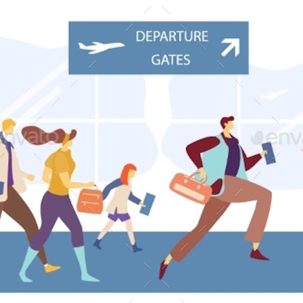 Passengers Running To Flight Boarding Gate, People