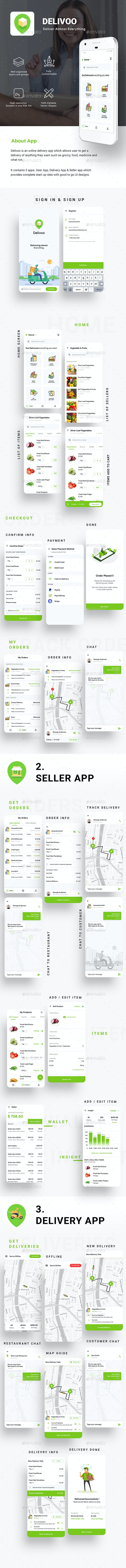 Custom Delivery for Food, Grocery, etc. | User, vendor & Delivery App UI | Delivoo - User Interfaces Web Elements