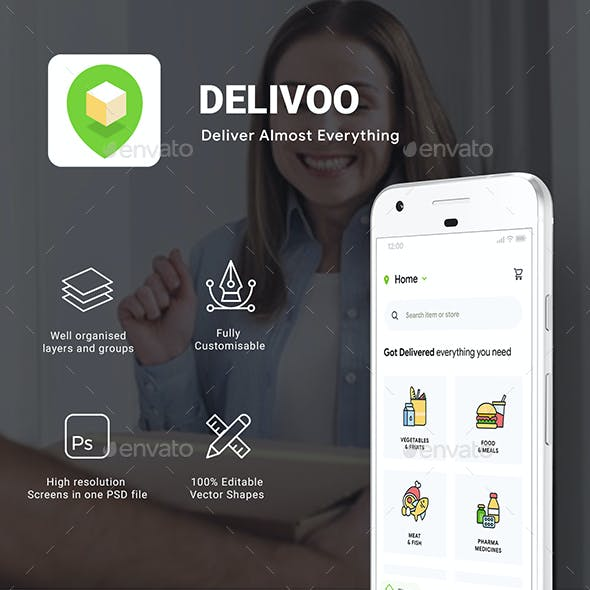 Custom Delivery for Food, Grocery, etc. | User, vendor & Delivery App UI | Delivoo