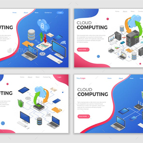 Isometric Cloud Computing Technology Templates