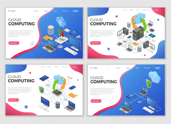 Isometric Cloud Computing Technology Templates - Computers Technology