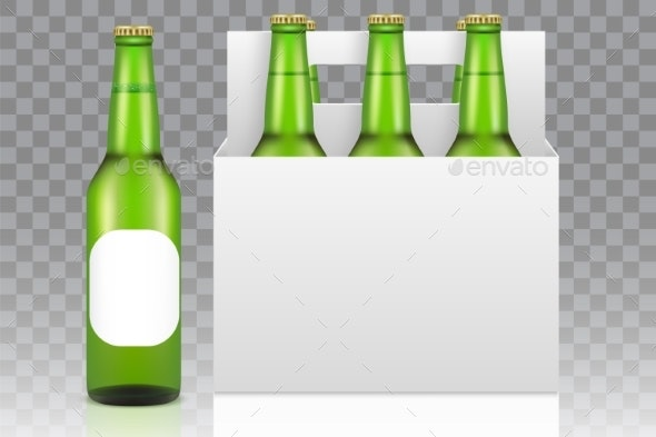 Six Pack of Beer Mockup, Vector Realistic - Food Objects