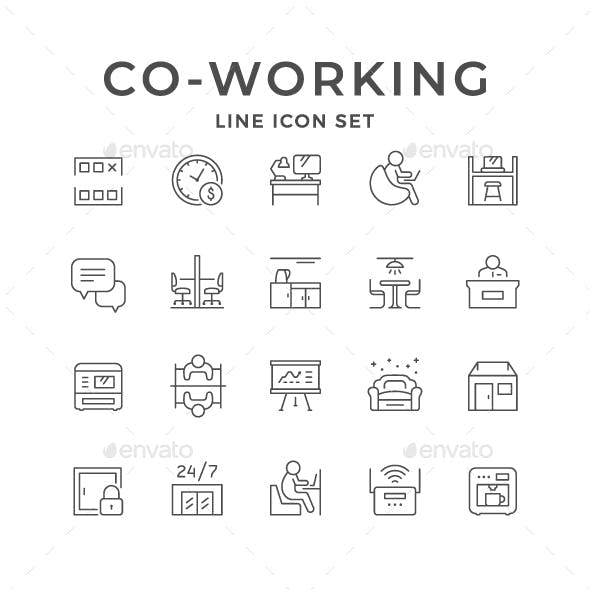 Set Line Icons of Co-working