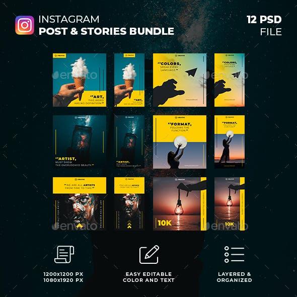 Art Instagram Post and Stories Bundle