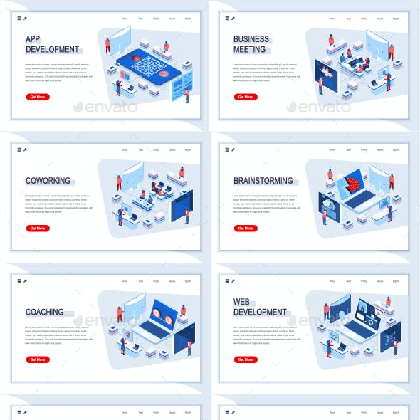 Collection Isometric Landing Page Templates