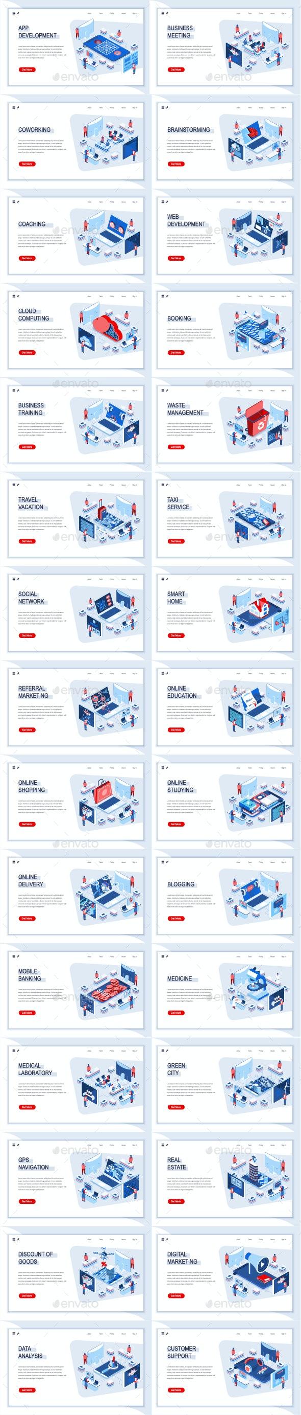 Collection Isometric Landing Page Templates - Web Elements Vectors