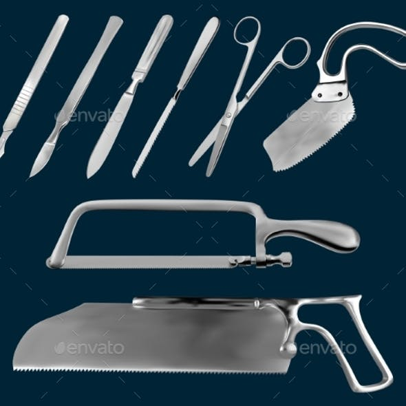 Set of Surgical Cutting Tools. Reusable Scalpels