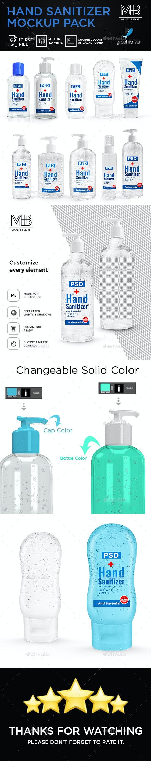 Hand Sanitizer Bottle Mockup Pack - Product Mock-Ups Graphics