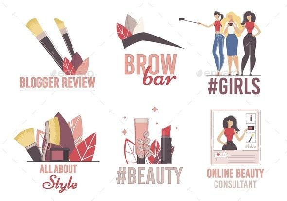 Beauty Blogger Channel Flat Vector Logo Set - Miscellaneous Vectors