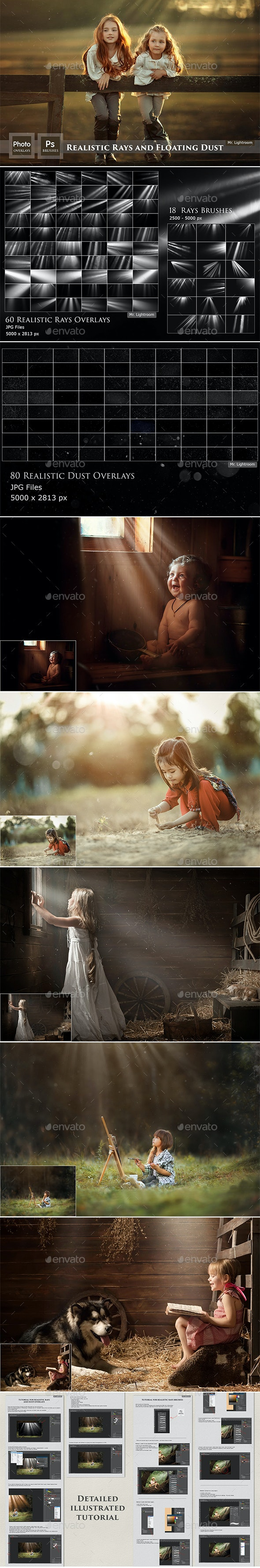 Realistic Rays and Floating Dust Brushes and Overlays - Artistic Photo Templates