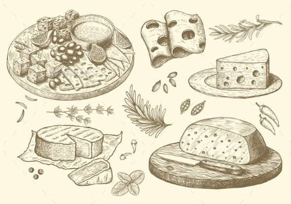 Cheese Collection of Hand Drawn Engraved Graphic - Food Objects