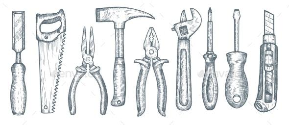 Set of Hand Tools - Miscellaneous Vectors