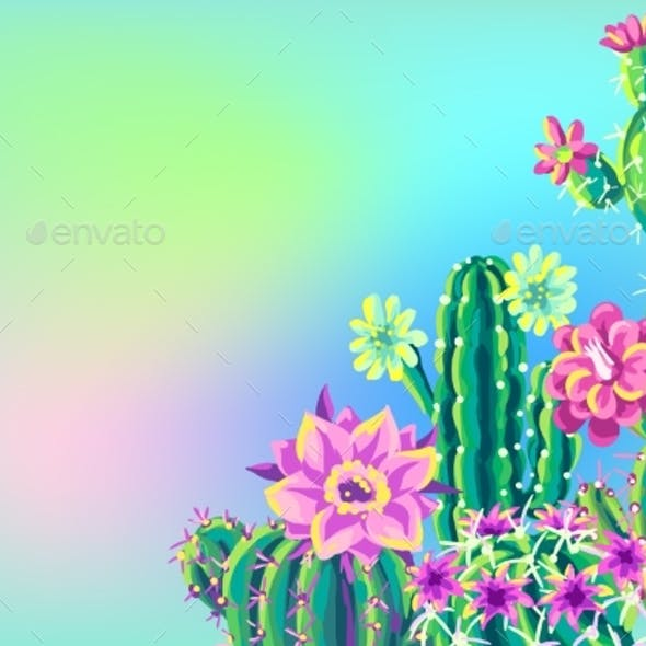 Background with Cacti and Flowers