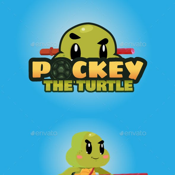Pockey The Turtle 2D Game Character Sprites