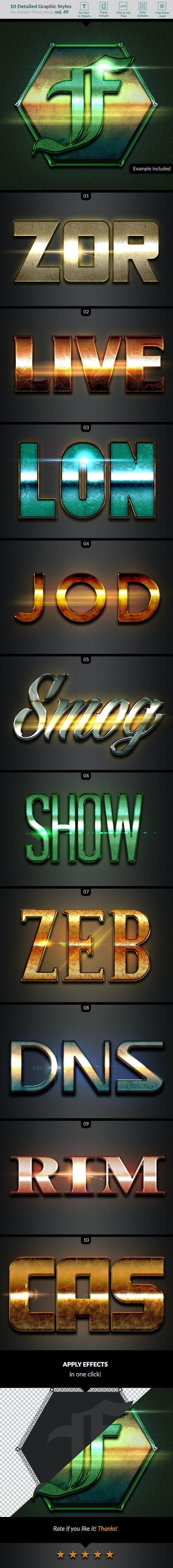 10 Text Effects Vol. 49 - Styles Photoshop
