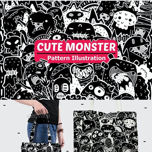 Cute Monster Pattern Illustration