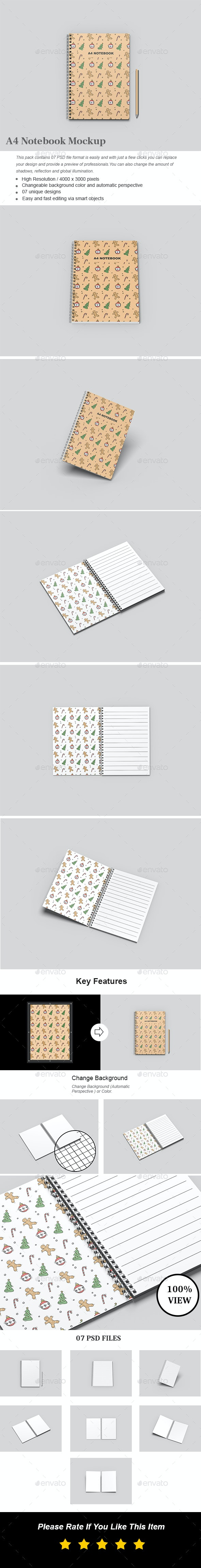 A4 Spiral Notebook Mockup - Books Print
