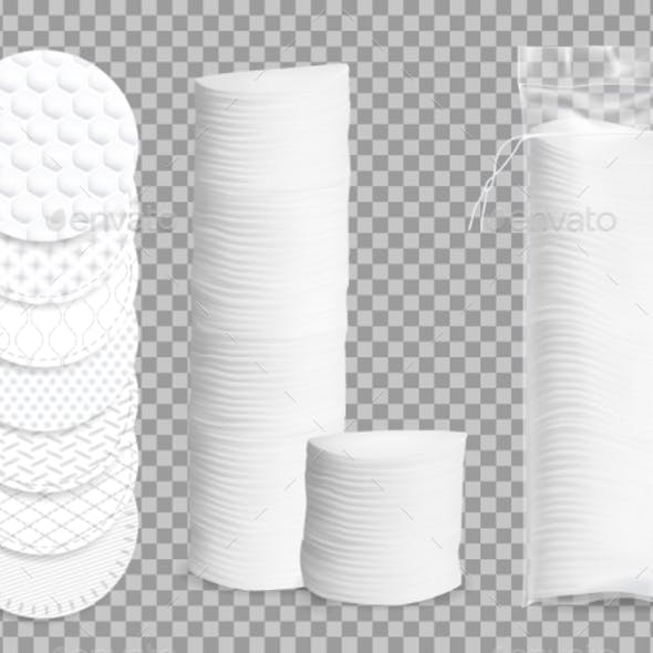 Realistic Cotton Pads Vector Isolated Mockup