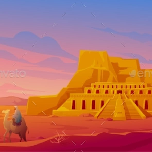 Egypt Desert with Hatshepsut Temple and Camel