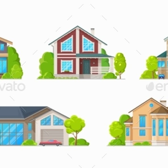 Residential Houses, Family Home Cottages Buildings