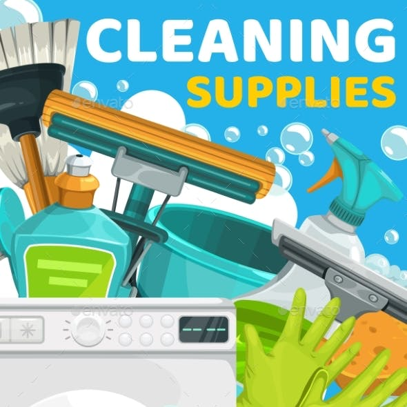 Housework and Cleaning Service Supplies Poster